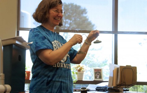 Doctor Andrea Sadler uses one of her special techniques, the bells, to help teach in her Algebra 3 class.