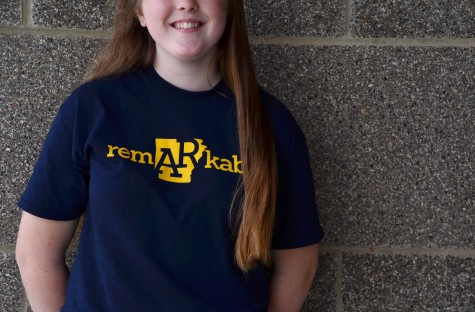 With her ASMSA shirt on, sophomore Anna Gayle Griffiths represents her future high school.   photo Madeline Colclasure
