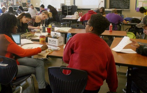 Students in Stacie Hart's art class work on their pieces. | photo Madison Upton