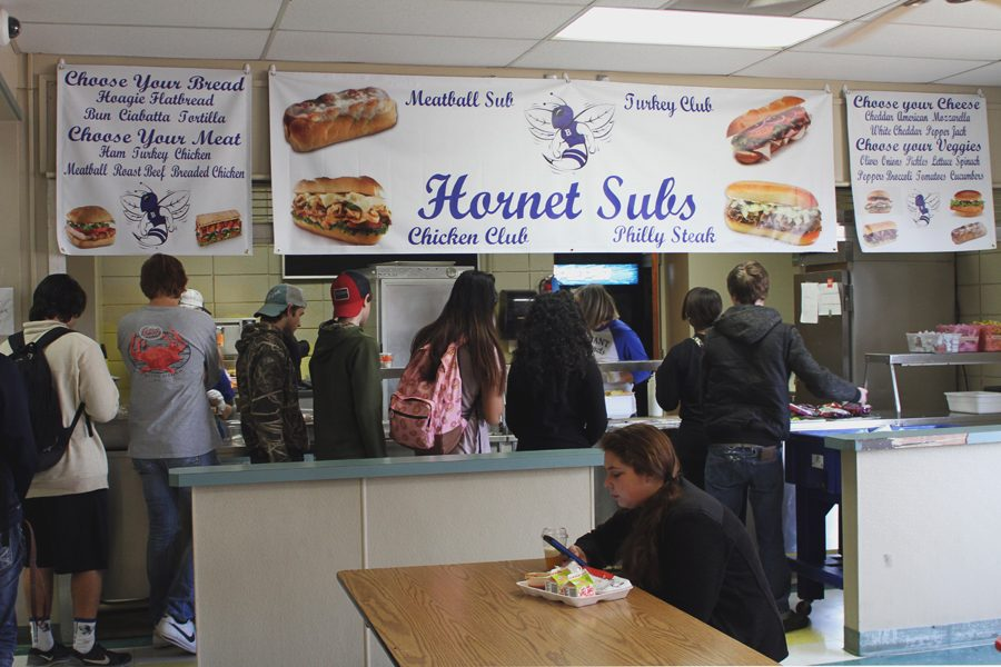 Students stand in line for a Hornet Sub.