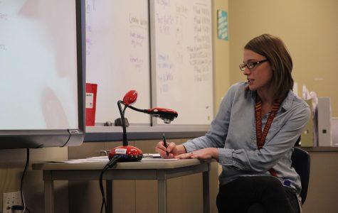 English teacher Caroline Walton instructs her fourth period.