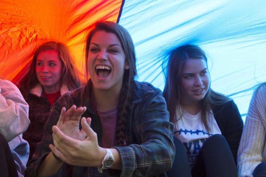 Student Senate Plays Parachute Game