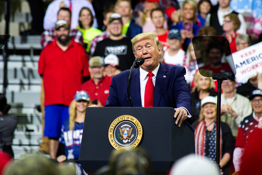 President Donald Trump addresses the crowd at Target Center in Minneapolis, MN, for his 2020 presidential campaign rally on October 10, 2019. Photo by Nikolas Liepins.