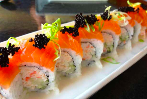 A sushi roll at Sky Modern Japanese, owned by junior Michelle Altankhuyags parents.
